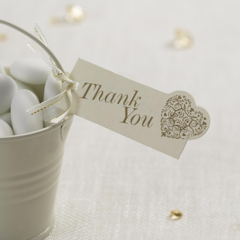Vintage Romance - Luggage Tags - Thank You - Ivory/Gold 10   Trade ...