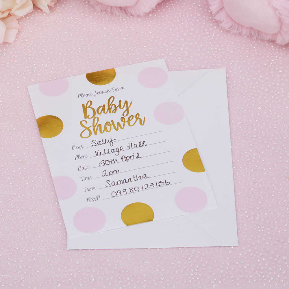 Pattern Works- Baby Shower Invitations with Envelopes Pink | Trade ...