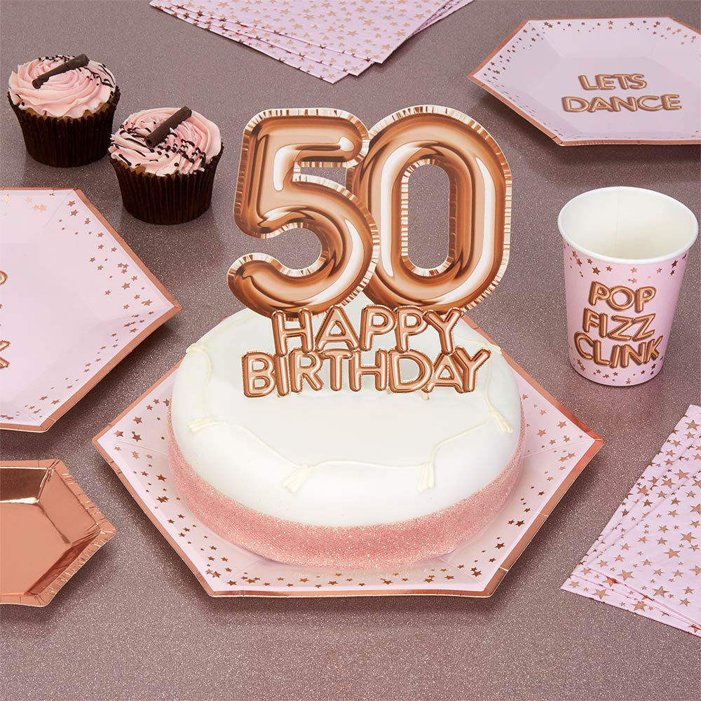 Glitz Glamour Cake Topper 50 Rose Gold Trade Wholesale Party
