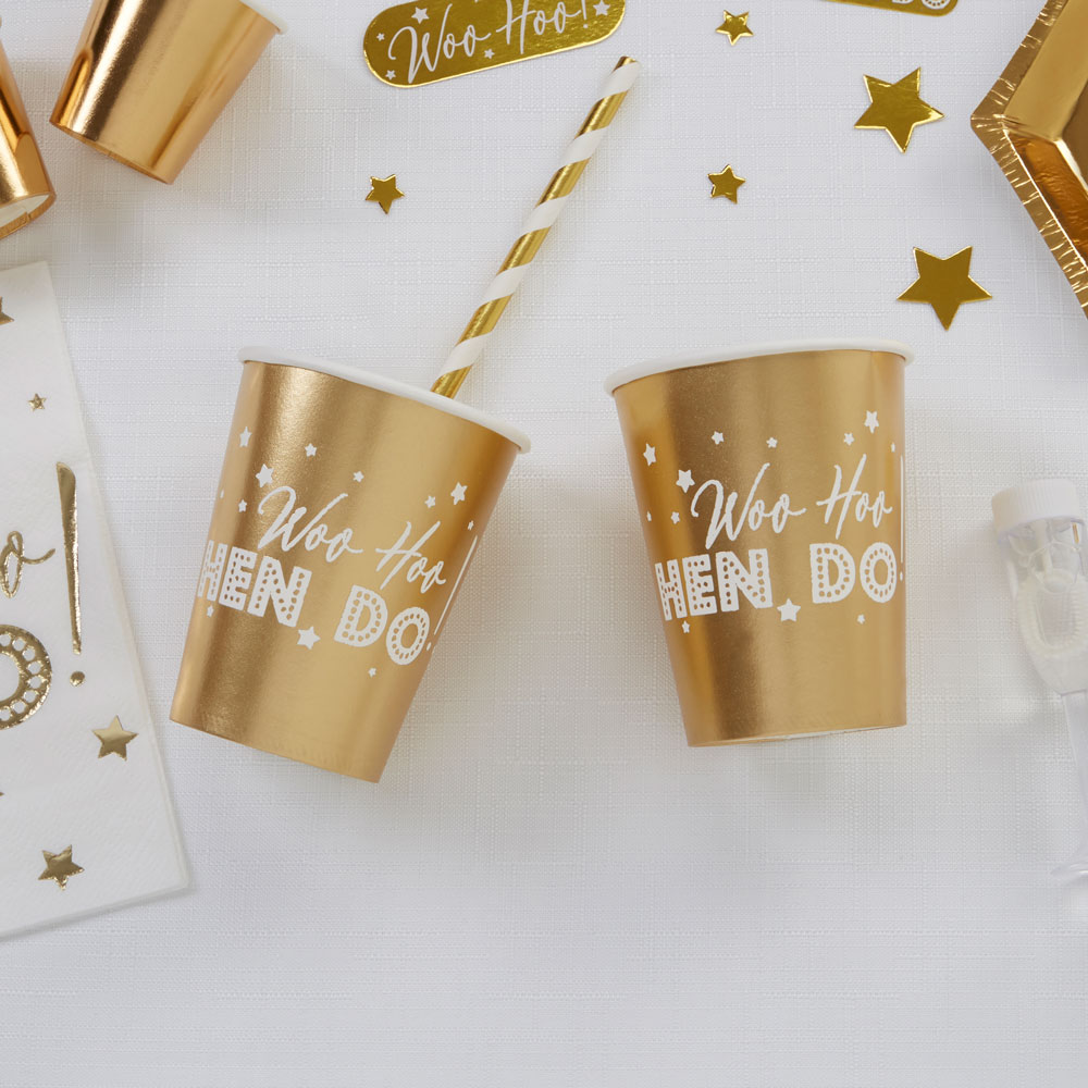 Hen Party Paper Cups 8 Pack Gold and White Woo Hoo Hen Do
