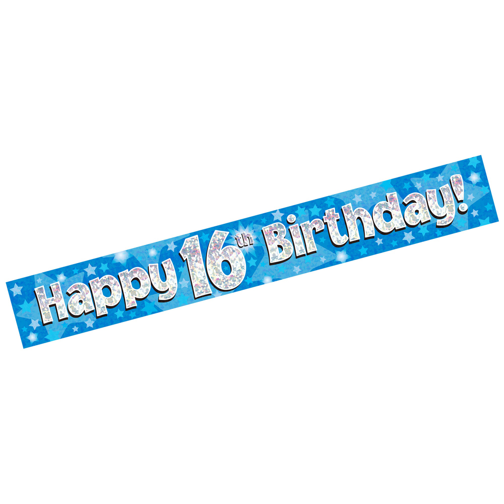 banner happy 16th birthday blue holographic  trade & whole