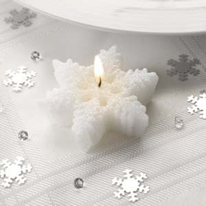 Small Shimmering Snowflake Candle - 3 Pack
