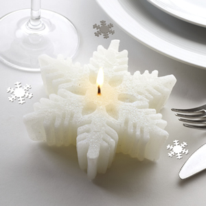 Large Shimmering Snowflake Candle - Single 12cm