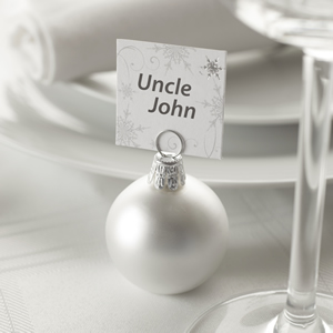 Matt Silver Bauble Place Card Holders - 6 Pack