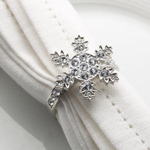Shimmering Snowflake - Diamond Napkin Rings - 4 Pack