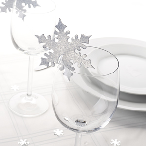 Shimmering Snowflake - Silver Place Card for Glass - 10 Pack