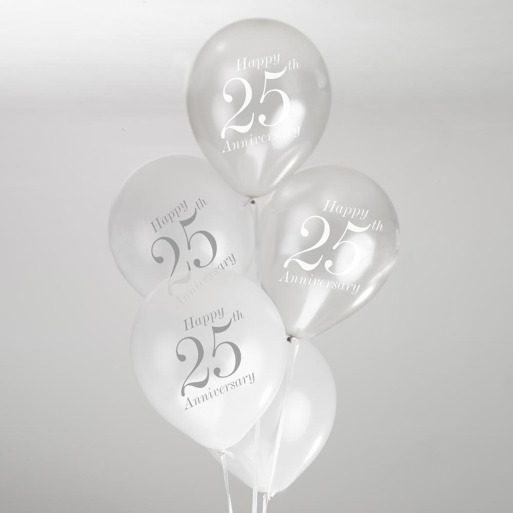 25th Anniversary Balloons - White/Silver | Trade & Wholesale Party ...