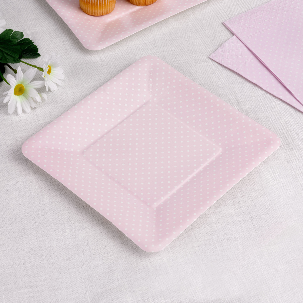 Paper Plates - Pink Polka Dot Square & Paper Plates - Pink Polka Dot Square | Trade u0026 Wholesale Party ...