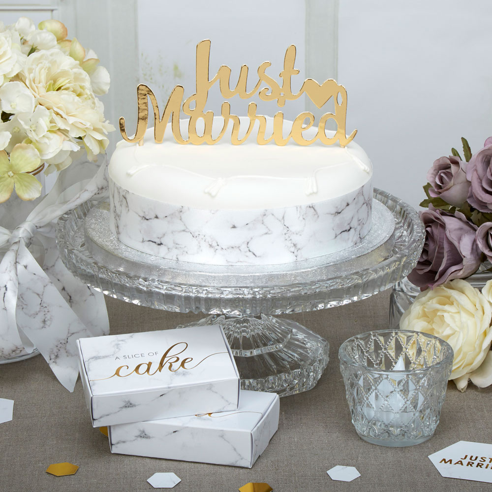 Scripted Marble Just Married Cake Topper Trade Whole Party Wedding