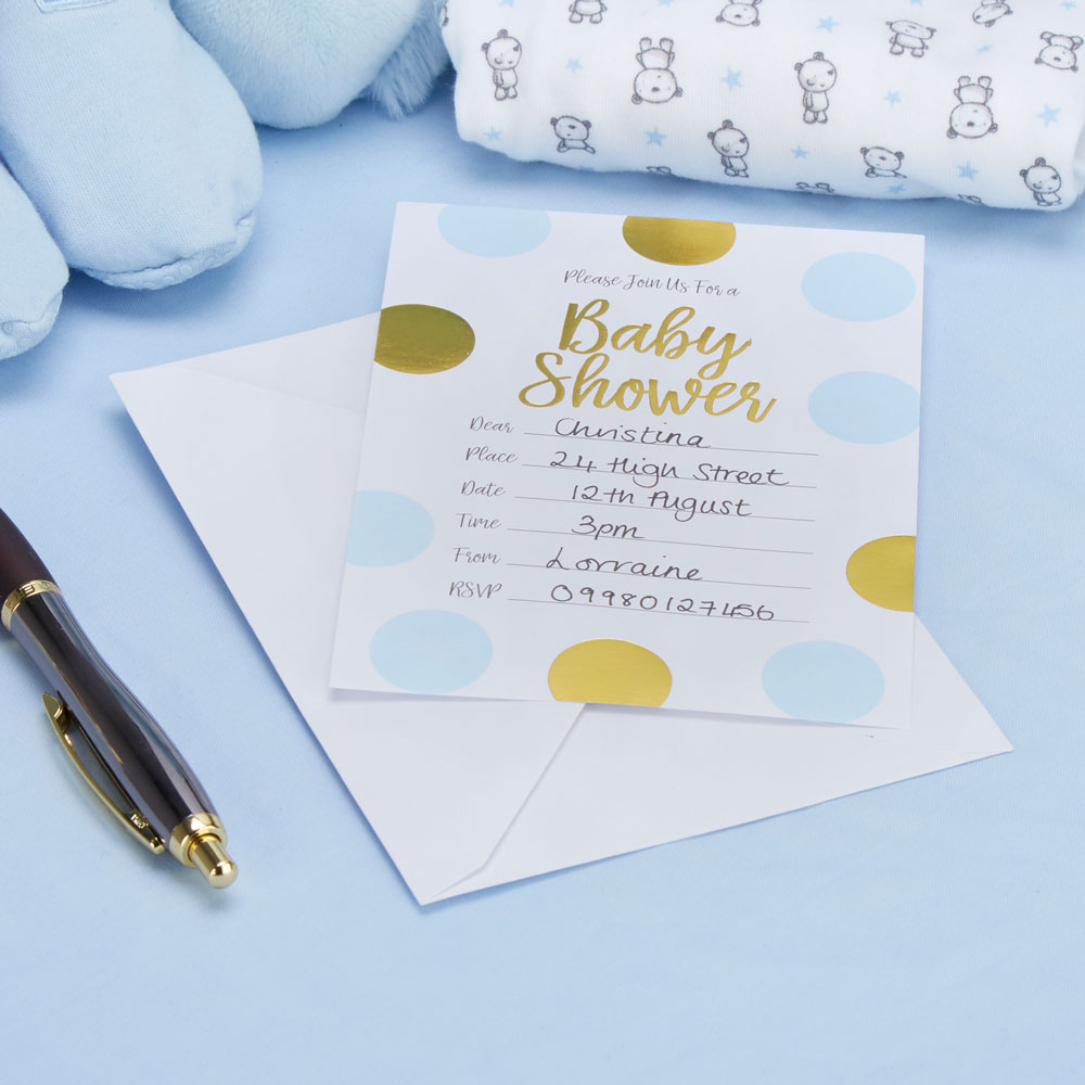 Pattern Works - Baby Shower Invitations with Envelopes Blue | Trade ...