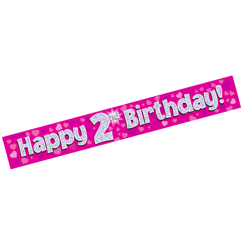 banner happy 2nd birthday pink holographic  trade & whole